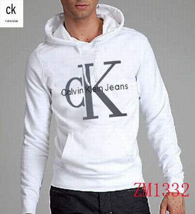 5d770729352 sweat Calvin Klein raw hooded gris